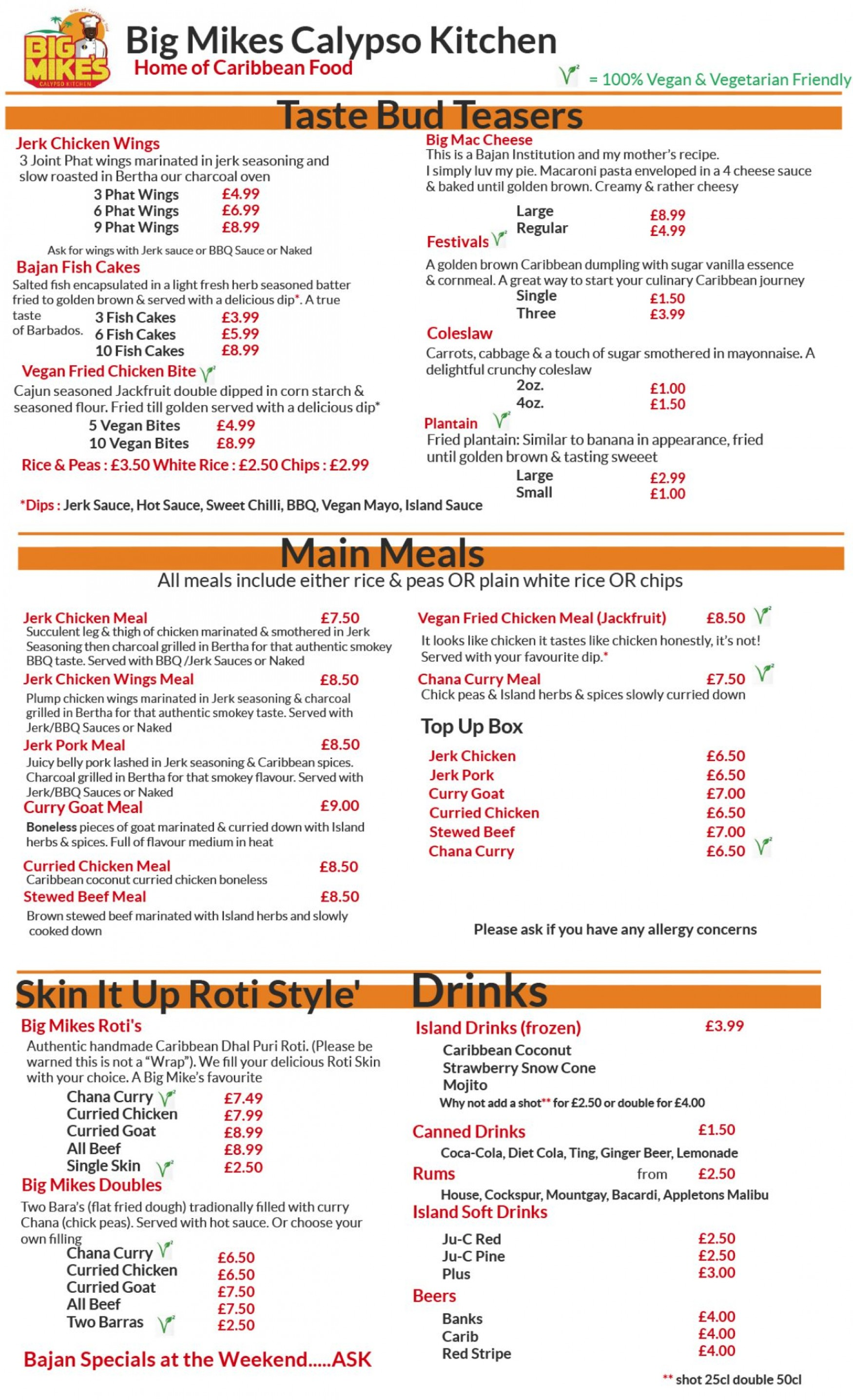 Big Mike's Calypso Kitchen menu