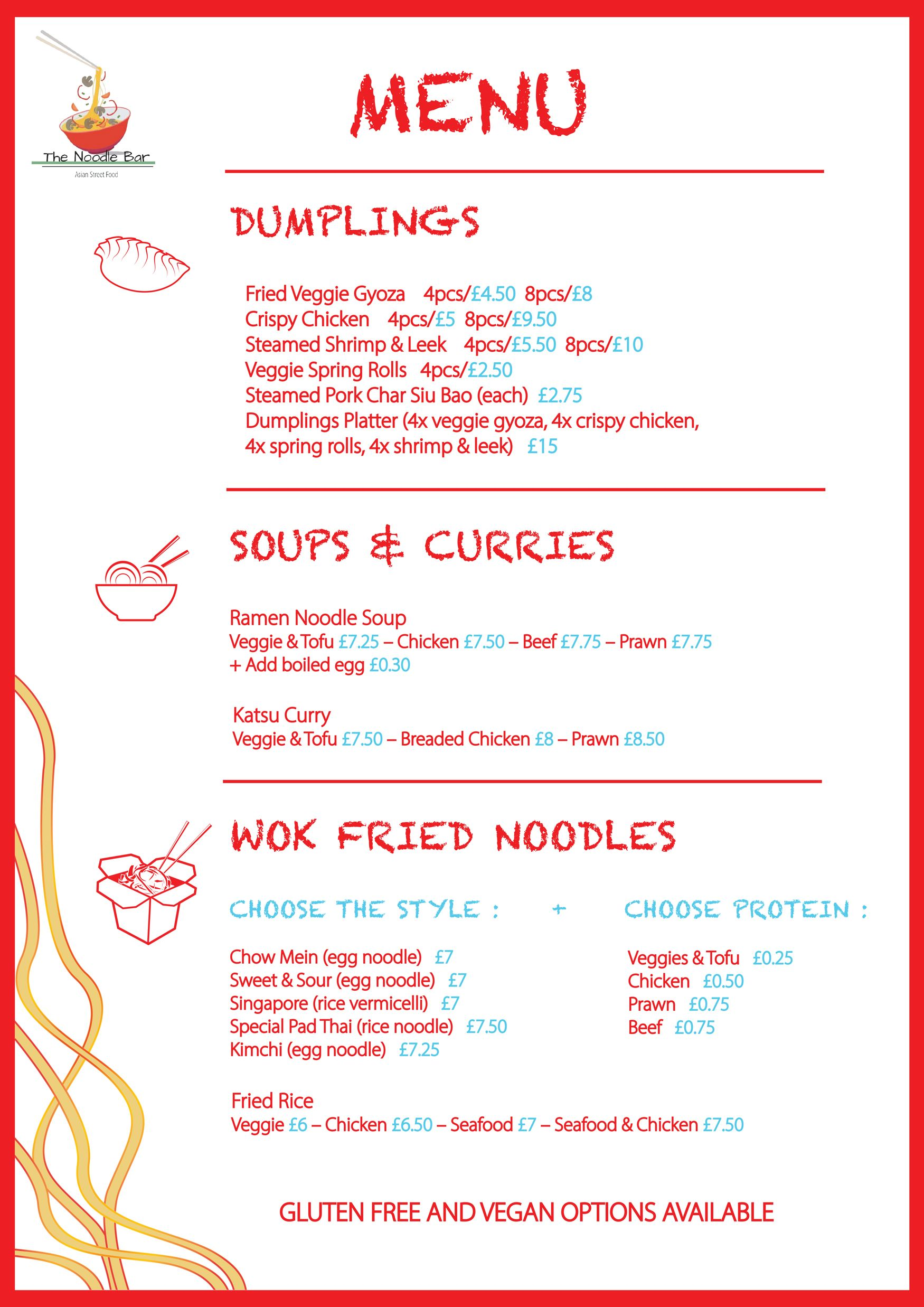 The Noodle Bar menu